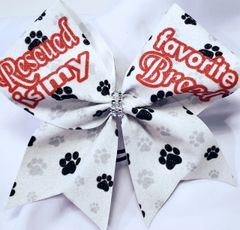 Rescued is my Favorite Breed Glitter Vinyl Cheer Bow