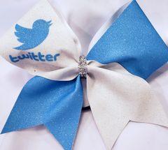 Twitter Glitter Vinyl Cheer Bow
