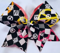 Peace Signs Fabric Cheer Bow