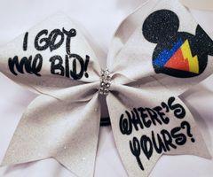 I Got My Bid Where's Yours? Glitter Vinyl Cheer Bow