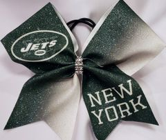 Jets Glitter Vinyl Cheer Bow