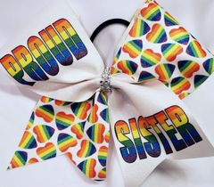 Proud Sister Pride Glitter Ribbon Cheer Bow