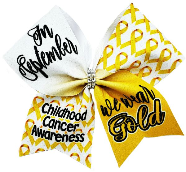 In September We Wear Gold Childhood Cancer Awareness Cheer Bow