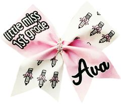 Little Miss (Custom) Grade Personalized Glitter Vinyl Cheer Bow