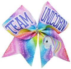 Team Unicorn Glitter Vinyl Cheer Bow