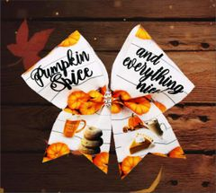 Pumpkin Spice and Everything Nice Glitter Vinyl Cheer Bow