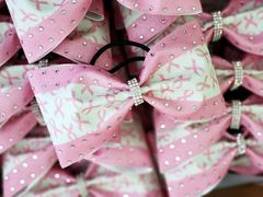 Breast Cancer Awareness Rhinestone Glitter Tailless Cheer Bow - medium