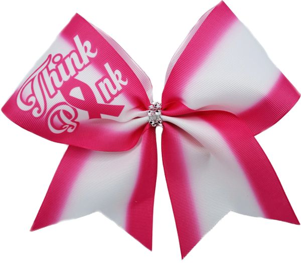 Think Pink Hot Pink Breast Cancer Awareness Cheer Bow