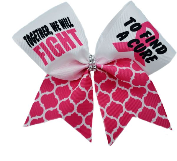 Together We Fight Hot Pink Breast Cancer Awareness Cheer Bow