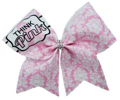Think Pink Damask Breast Cancer Awareness Cheer Bow