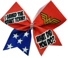 Wonder Woman I saved the stunt today Cheer Bow