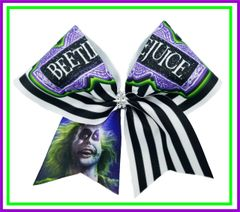 Beetlejuice Glitter Vinyl Cheer Bow