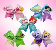 Princesses Glitter Vinyl Cheer Bows - Ariel Aurora Tiana Rapunzel Jasmine