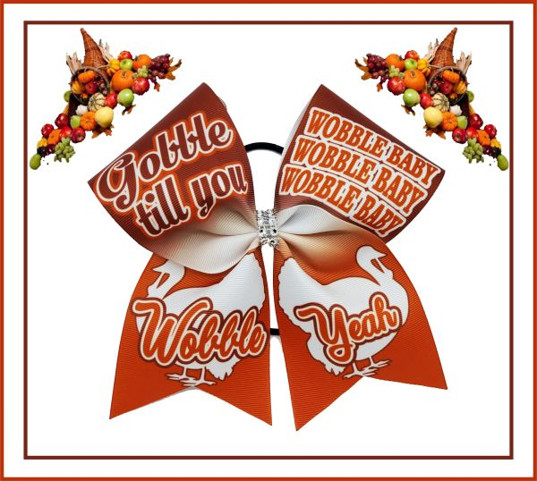 Wobble Baby Thanksgiving Glitter Vinyl Cheer Bow
