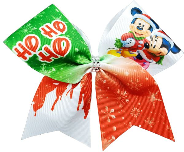 Mickey Minnie Ho Ho Ho Christmas Glitter Vinyl Cheer Bow