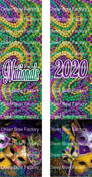 Nationals 2020 Mardi Gras Cheer Bow Ready to Press Sublimation Graphic