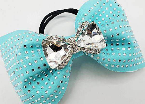 Tiffany Blue Rhinestone Tailless Cheer Bow