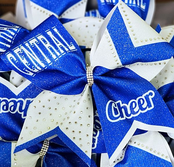 Custom School Name or Logo Rhinestone Cheer Bow
