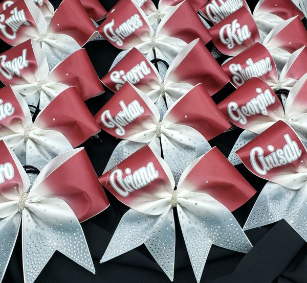 Custom Personalized Ombre Satin & Rhinesone Cheer Bow