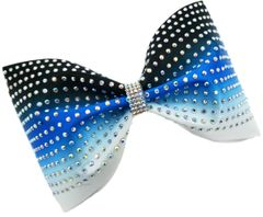 The Dani Ombre Satin & AB Rhinestone Tailless Cheer Bow