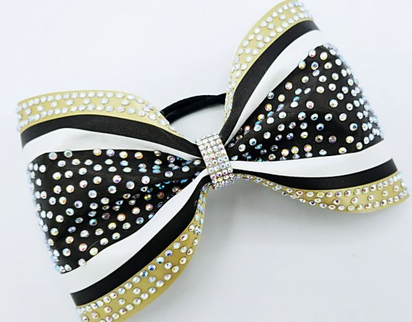 The Mia Satin & AB Rhinestone Tailless Cheer Bow
