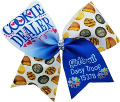 Cookie Dealer Daisy Personalized Troop # Girl Scout Cheer Bow