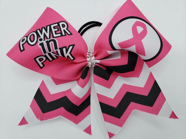 Power in Pink Ribbon Cheer Bow