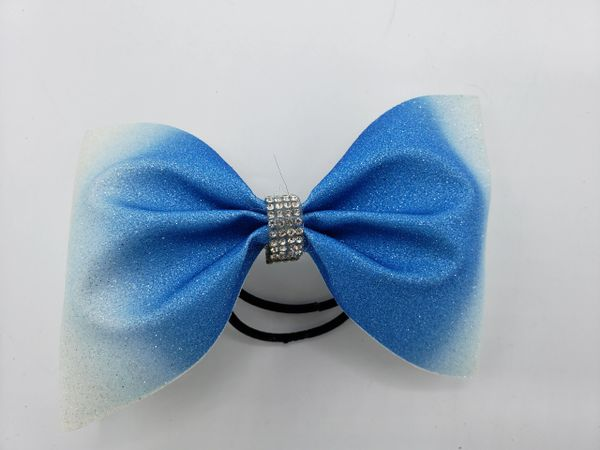 Turquoise Ombre Tailless Glitter Vinyl Cheer Bow