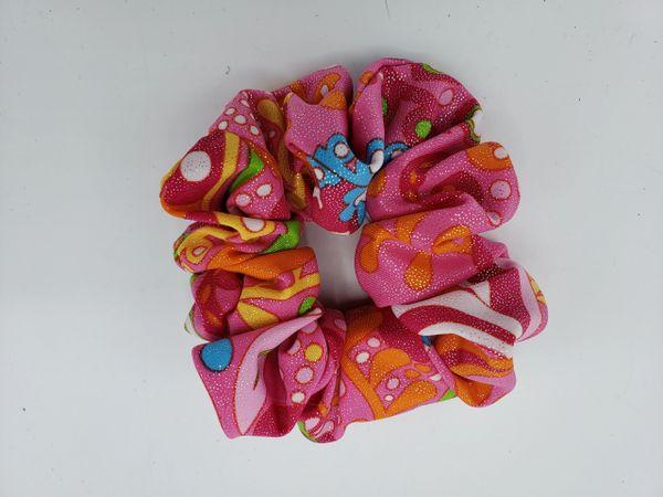 Pink Print Fabric Scrunchie