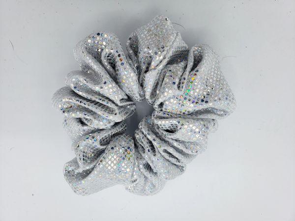 Silver Holgram Fabric Scrunchie