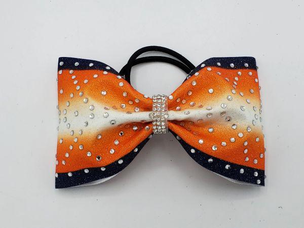 Orange Navy Rhinestone Tailless Glitter Cheer Bow