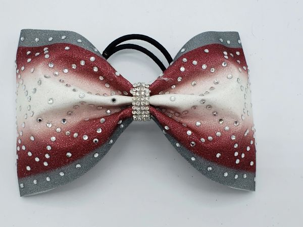 Silver Maroon White Glitter Tailless Ombre Cheer Bow - large