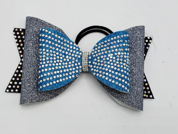 Turquoise Silver Black Dolly Cheer Bow