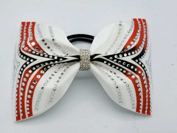 Red Black White Satin Rhinestone Tailless Cheer Bow - large