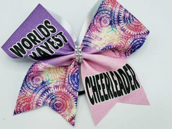 Worlds Okayest Cheerleader Glitter Vinyl Cheer Bow