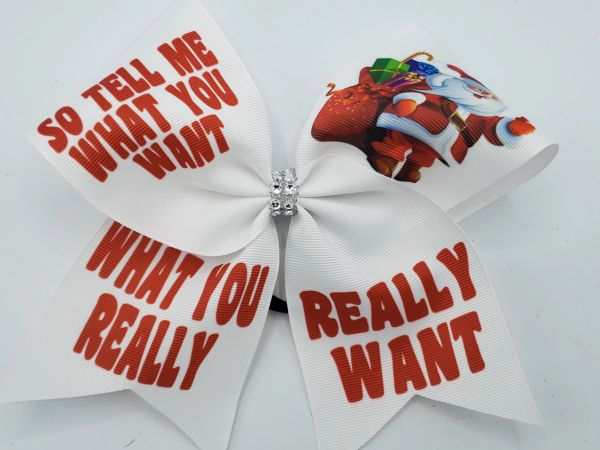 So Tell Me What You Want Christmas Ribbon Cheer Bow