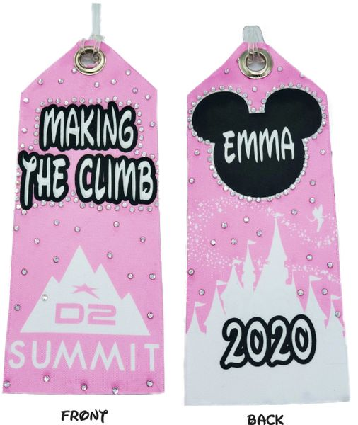 D2 Summit Personalized Rhinestone & Satin Bag Tag - custom colors