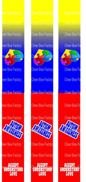 Autism Awareness Key Chain Cheer Bow Ready to Press Sublimation Graphic