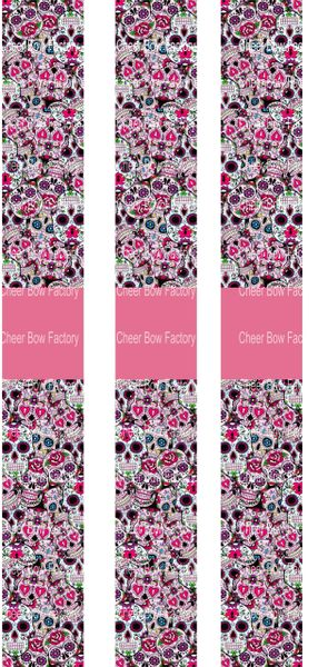 Sugar Skulls Key Chain Cheer Bow Ready to Press Sublimation Graphic