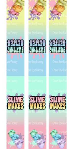 Slime Key Chain Cheer Bow Ready to Press Sublimation Graphic