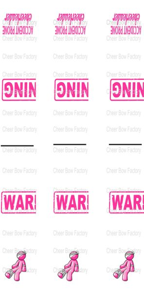 Warning Key Chain Cheer Bow Ready to Press Sublimation Graphic