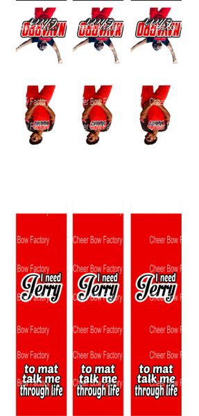 Jerry Key Chain Cheer Bow Ready to Press Sublimation Graphic