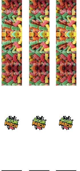 Sour Patch Key Chain Cheer Bow Ready to Press Sublimation Graphic