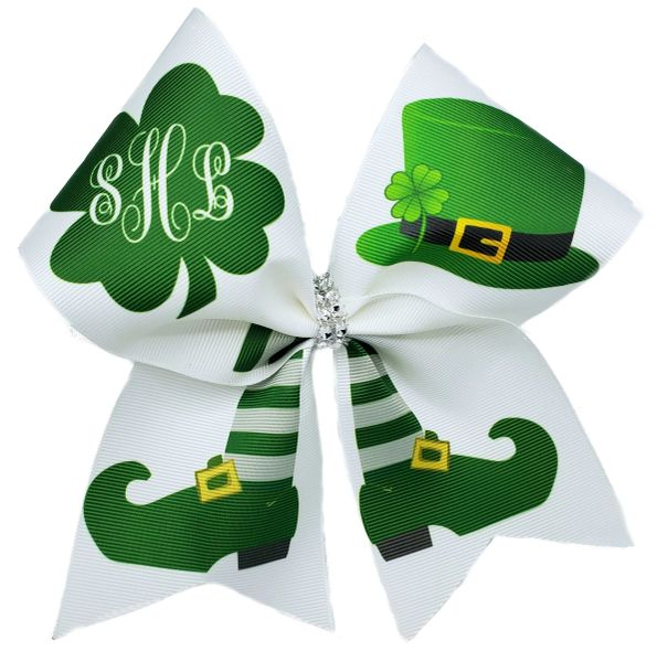 Monogram Leprechaun Glitter Vinyl Cheer Bow