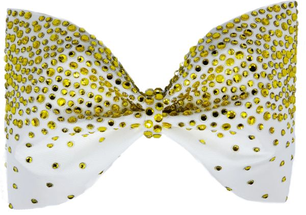 Athletic Gold Rhinestone Tailless Cheer Bow