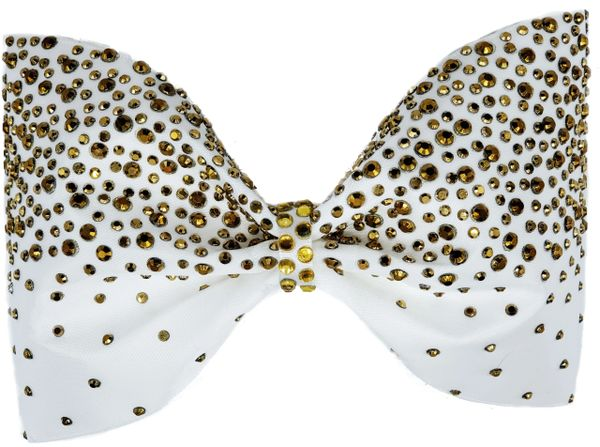 Gold Rhinestone Tailless Cheer Bow