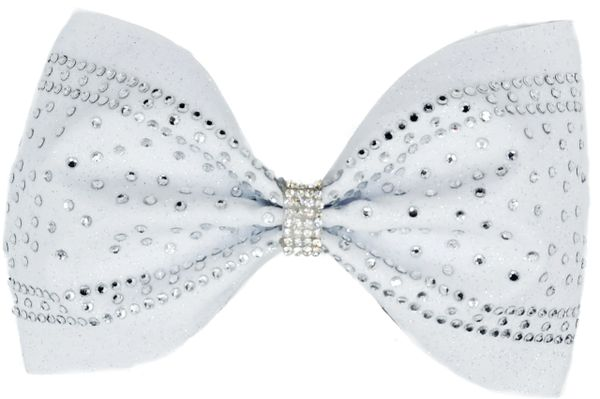 The Elsa White Glitter & Rhinestone Cheer Bow