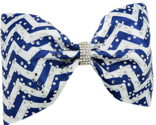 Chevron & Rhinestone Tailless Cheer Bow