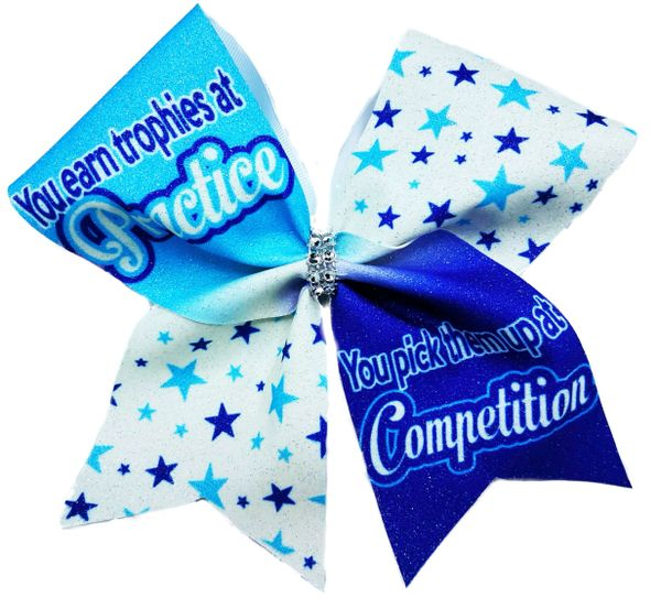 You Earn trophies at Practice / You pick them up at Competition Cheer Bow