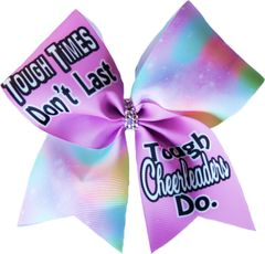 Tough Times Don't Last Tough Cheerleaders Do Glitter Vinyl Cheer Bow